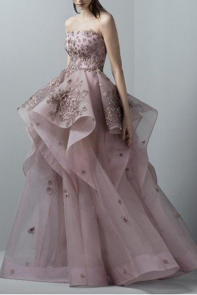 SK by Saiid Kobeisy Orchid Pink Strapless Tulle Multi Layered Gown