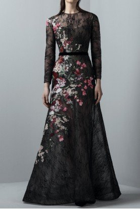 SK by Saiid Kobeisy Black Lace Long Sleeve Gown with Floral Applique
