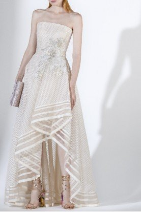 SK by Saiid Kobeisy Ecru Strapless High Low Tulle Gown