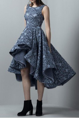 SK by Saiid Kobeisy Blue Sleeveless Asymmetrical Tulle Short Dress