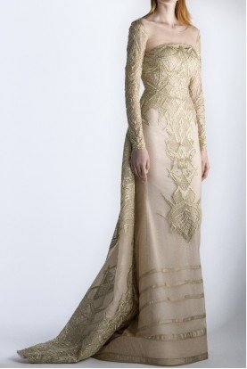 SK by Saiid Kobeisy Long Sleeve Gold Ecru Tulle Gown w Overskirt