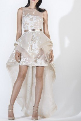 SK by Saiid Kobeisy Ecru Sleeveless High Low Dress Mullet Tulle Gown