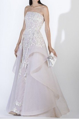 SK by Saiid Kobeisy Ecru Strapless Lace Tulle Brode Gown w Overskirt