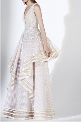 SK by Saiid Kobeisy Ecru Sleeveless A Line Lace Embroidered Tulle Gown