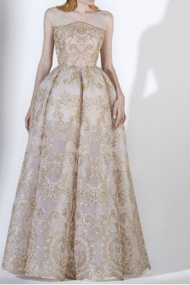 SK by Saiid Kobeisy Gold Tulle Brode Strapless Illusion Evening Gown
