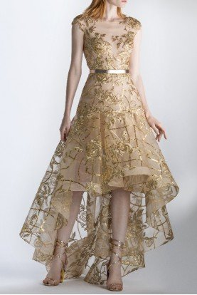 SK by Saiid Kobeisy Gold Beaded High Low Cap Sleeve Gown