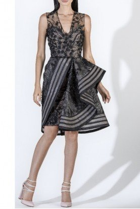 SK by Saiid Kobeisy Black Sleeveless Tulle Brode Draped Cocktail Dress