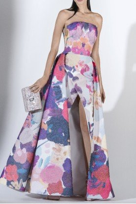 SK by Saiid Kobeisy Strapless Brocade Gown w Slit and Overskirt