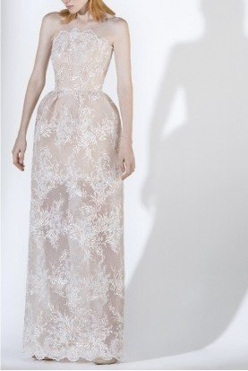 SK by Saiid Kobeisy Ecru Tulle Brode Structured Strapless Evening Gown