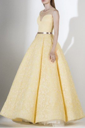 SK by Saiid Kobeisy Yellow Strapless A Line Illusion Evening Gown