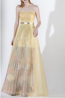 SK by Saiid Kobeisy Strapless Tulle Brode Embroidered Evening Gown