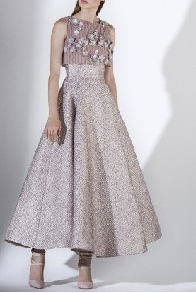 SK by Saiid Kobeisy Metallic Pink Sleeveless Tulle Brocade Gown