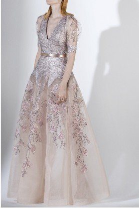 SK by Saiid Kobeisy Metallic Pink Short Sleeve Tulle and Brocade Gown