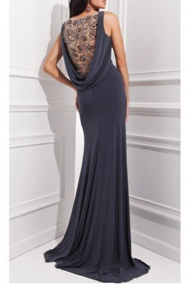 Tony Bowls Gray Beaded Cowl Back Formal Dress Evening Gown