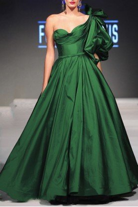 Fouad Sarkis Couture 2305 Green One Shoulder Ball Gown