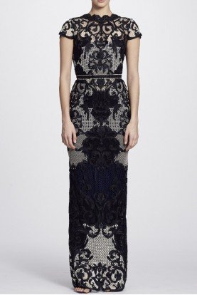 Marchesa Notte Black Short Sleeve Color Block Column Gown