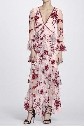 Blush Ruffle Long Sleeve Floral Flocked Lace Gown