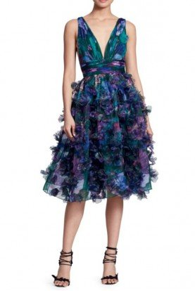 Marchesa Notte Sleeveless 3D Floral Embroidered Cocktail Dress