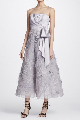 Marchesa Notte Mikado Strapless Midi Tea Silver Dress