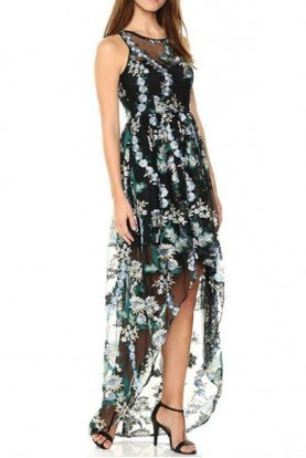 Adrianna Papell Floral Embroidered High Low Blue Gown Dress