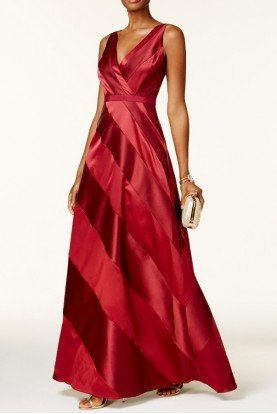 Adrianna Papell Satin-Panel Gown CRANBERRY RED BALL PROM