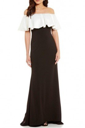 Adrianna Papell Off shoulder bodycon ivory Black gown Crepe