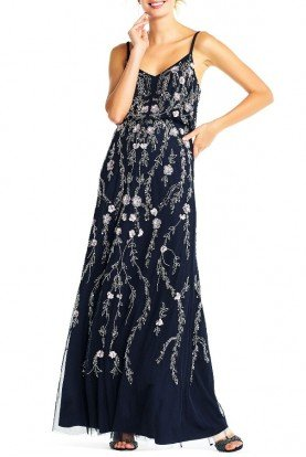 4e244777f42 Adrianna Papell FLORAL BEADED BLOUSON GOWN NAVY PROM FORMAL
