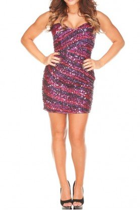 Primavera Couture Feline Sequin Strapless Mini Dress 9726