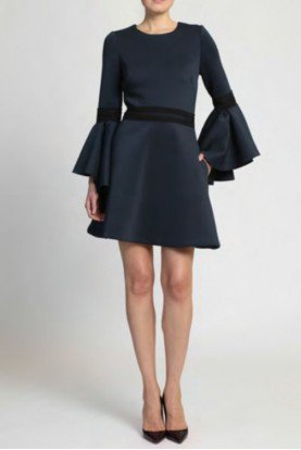 Badgley Mischka Navy Blue Long Flair Sleeve Cocktail Dress
