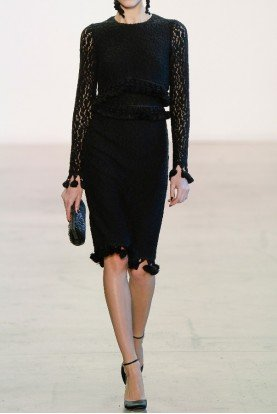 Badgley Mischka Black Lace Long Sleeve Cocktail Dress
