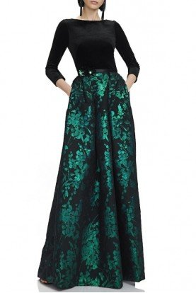 Black Green Sleeved A Line Jacquard Evening Gown