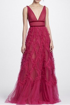 Berry Pink Sleeveless A Line Plunging Evening Gown