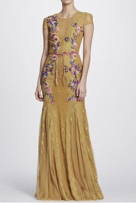 Marchesa Notte Gold Lace Short Sleeve Floral Embroidered Gown