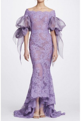 Marchesa Lilac Corded Lace Off Shoulder Silk Organza Gown
