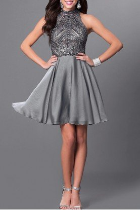 Silver Beaded Halter Neck Cocktail Party Dress
