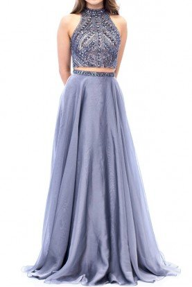 E1940 Silver Gunmetal Beaded Two Piece  Gown Dress
