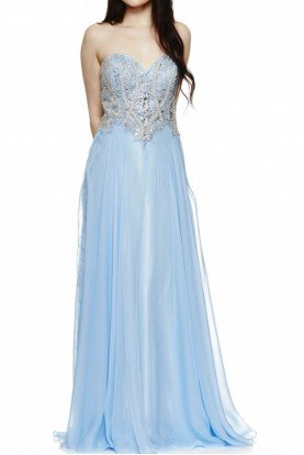Light Blue Jeweled Embellished Strapless Dress
