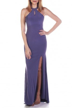 3048 Smoky Halter Evening Gown with Keyhole Cutout