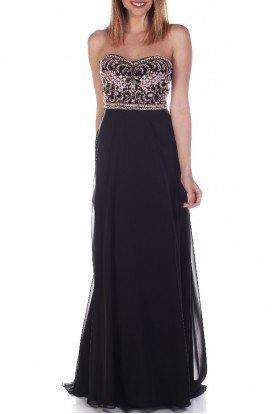 16353 Black Blush Beaded Strapless Evening Gown