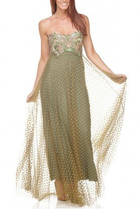 Ema Savahl Olive Green Gold Corset Lace Up Evening Dress Gown