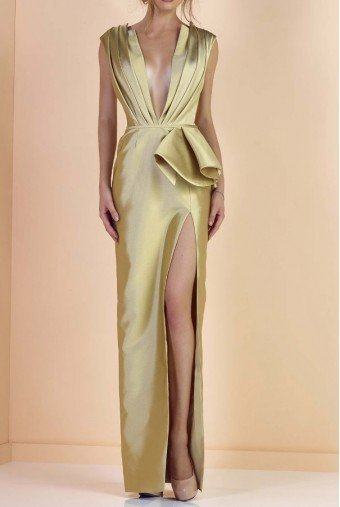 Divina by Edward Arsouni Pure Gold Plunging V Neck Column Evening Gown