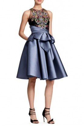 Gunmetal Metallic Sleeveless Mikado Party Dress