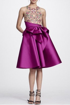 Marchesa Notte Berry Pink Sleeveless Mikado Party Dress