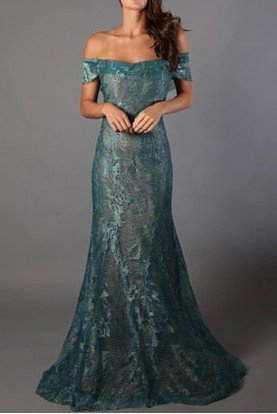 Rene Ruiz Aqua Green Metallic Off the Shoulder Evening Gown