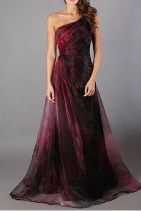 Rene Ruiz Purple Multi One Shoulder Evening Gown