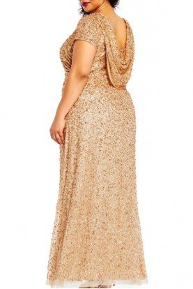 Champagne Gold Cowl Back  Beaded Gown Plus Size