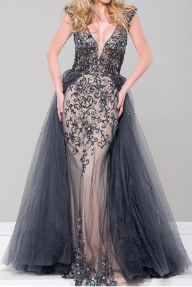 JVN46081 Gunmetal Embellished Column Dress Gown