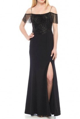 Black Beaded Drape Evening Gown Dress