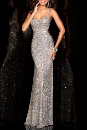 Scala Sleeveless Embellished Silver Lead Evening Gown