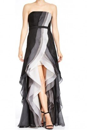 Halston Heritage Strapless Tiered Ombre Gown with Slit